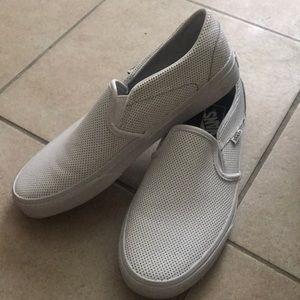 Perforated White Slip-on Vans